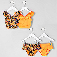 Mini girls orange leopard tankini multipack
