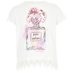 Girls white perfume crochet hem T-shirt