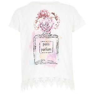 T-shirt à ourlet crochet blanc avec parfum pour fille
