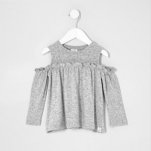 Mini girls grey knit cold shoulder top