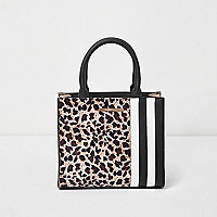 Girls brown leopard print block square bag