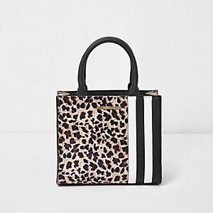 Bruine vierkante tas met luipaardprint en kleurblokken voor meisjes