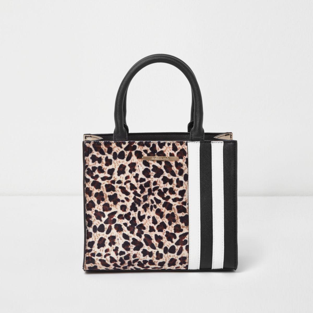 Girls brown leopard print block square bag