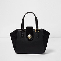 Girls black faux panel winged tote bag