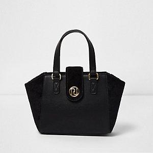 Zwarte handtas met imitatiesède paneel voor meisjes