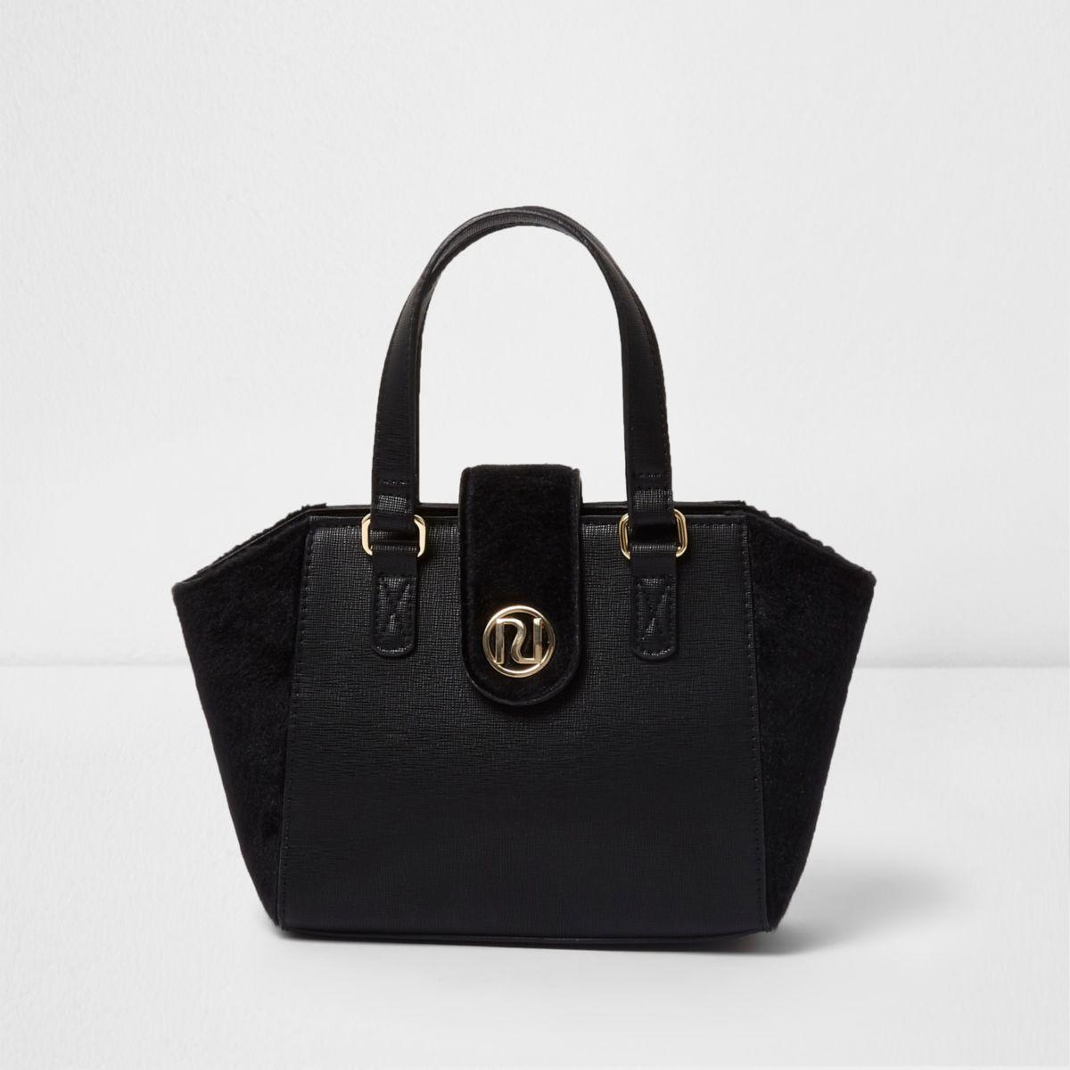 Girls black faux panel winged tote bag
