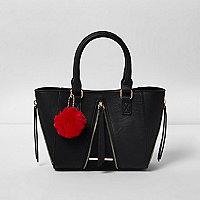 Girls black zipped pom pom winged tote bag