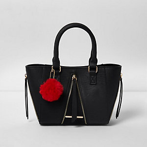 Girls black zipped pom pom winged tote bag