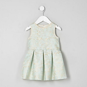 Mini girls cream floral jacquard prom dress