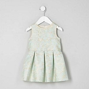 Robe de bal jacquard à motif fleuri crème pour fille