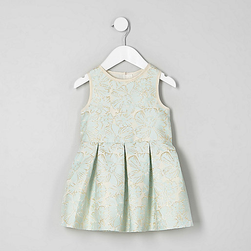 Mini girls cream floral jacquard prom dress