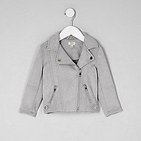 Mini girls grey faux suede biker jacket