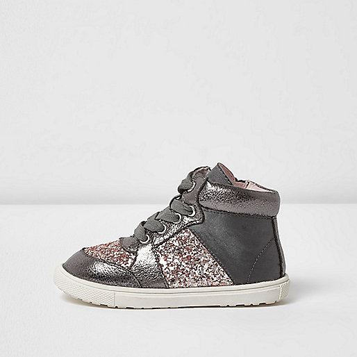Mini girls grey glitter hi top trainers