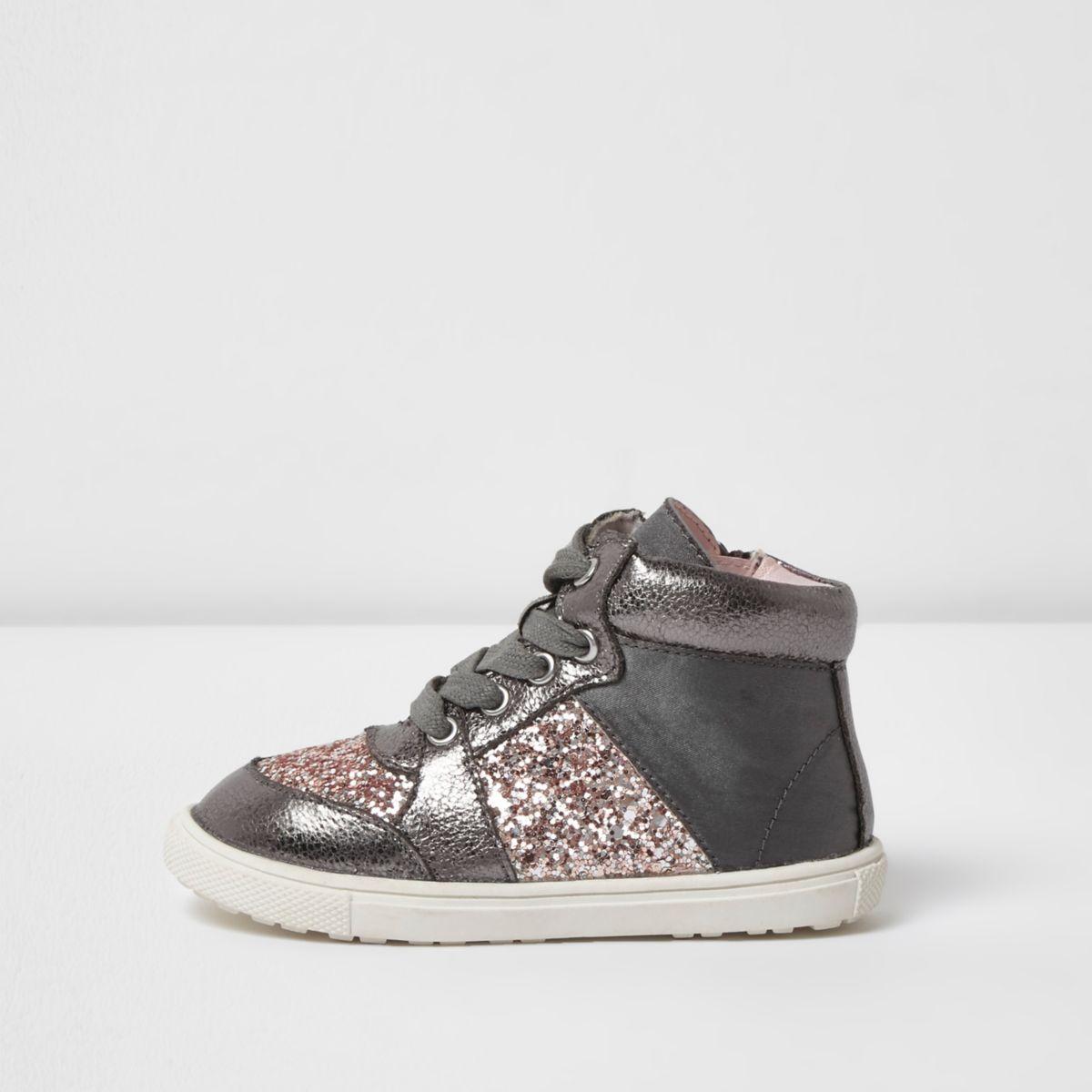 Mini girls grey glitter hi top sneakers