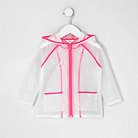 Mini girls pink clear rain coat