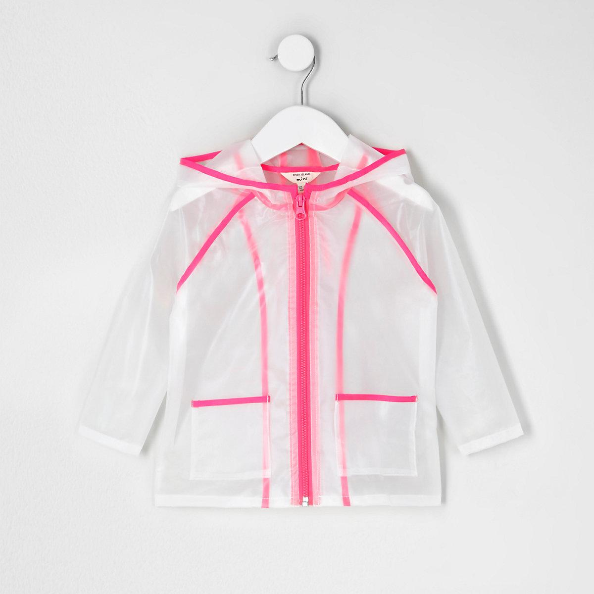 Mini girls pink clear rain coat