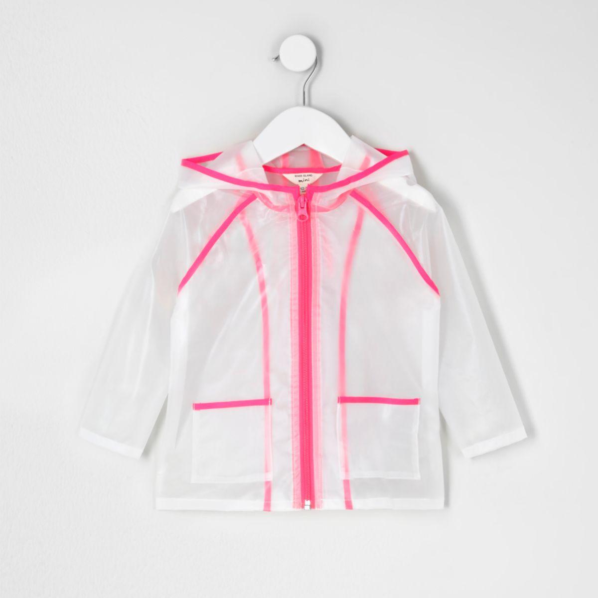 Imperméable rose transparent mini fille