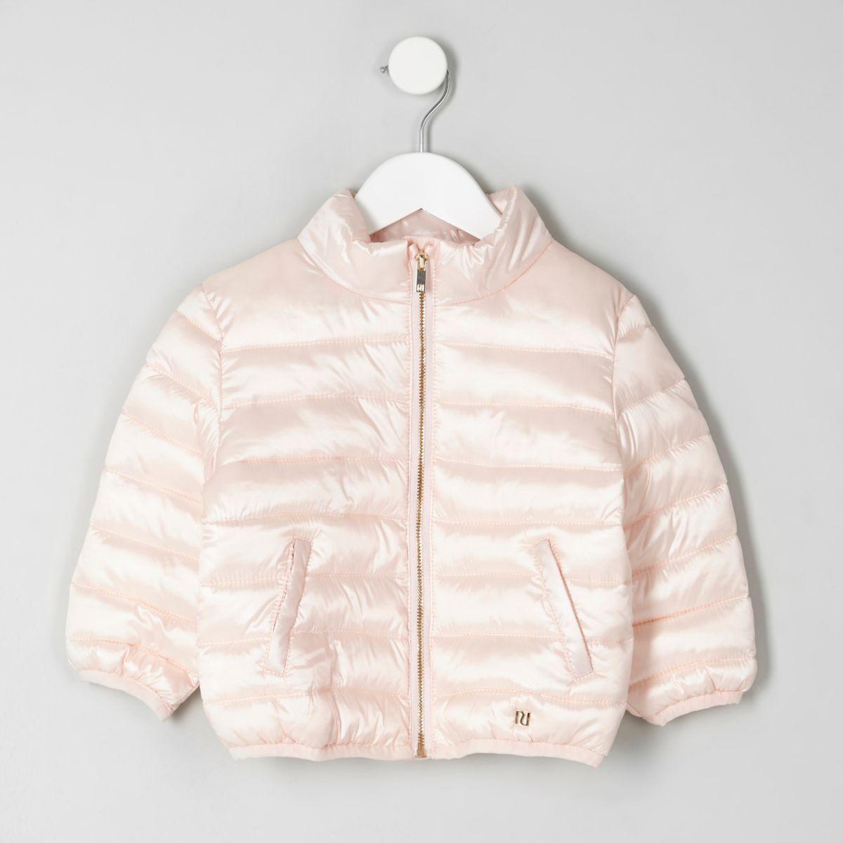 Mini girls pink high shine puffer jacket