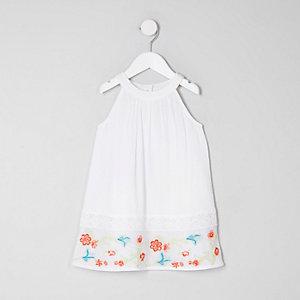 Robe trapèze blanche brodée mini fille