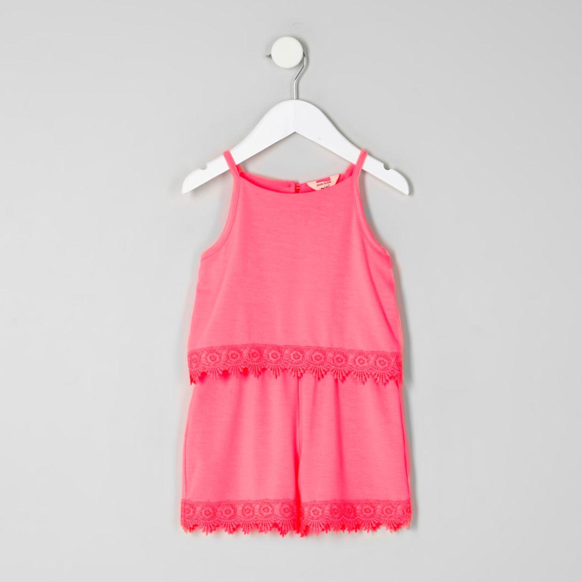 Mini girls pink layer crochet trim playsuit
