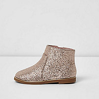 Mini girls pink glitter ankle boots