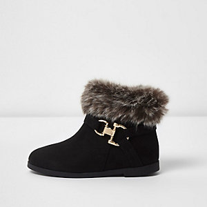 Mini girls black fur top boots
