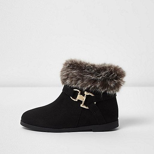 Mini girls black faux fur top boots
