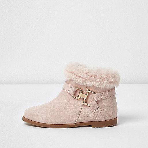 Mini girls pink faux fur top boots