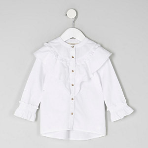 Mini girls white frill shirt