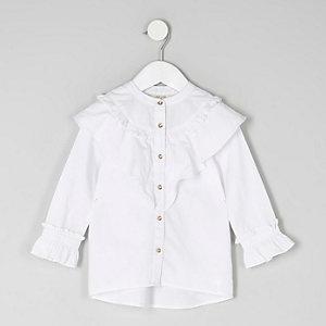 Mini - Wit overhemd met ruches voor meisjes