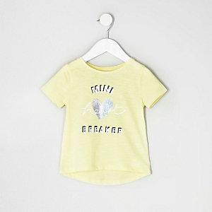 T-shirt à imprimé heartbreaker jaune pour mini fille