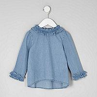 Mini girls blue denim ruffle top