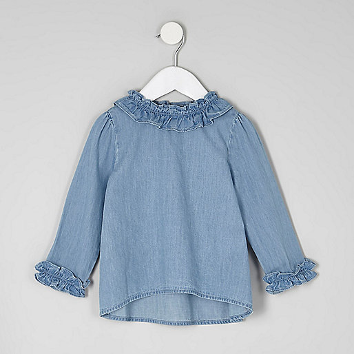 Mini girls blue denim ruffle top