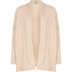 Girls pink ladder knit open front cardigan