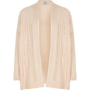 Roze vest met halen en opening aan de voorkant voor meisjes