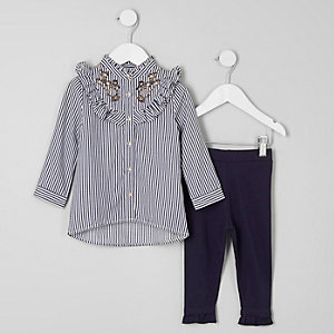 Mini girls blue stripe frill shirt outfit