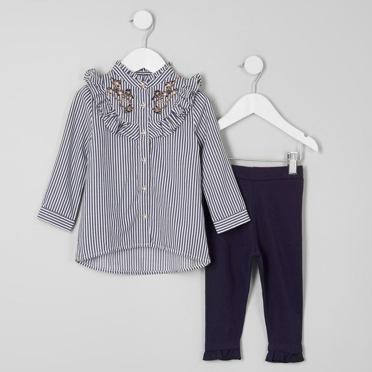 Mini girls blue stripe frill shirt outfit