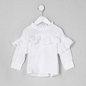 Mini girls white frill long sleeve top