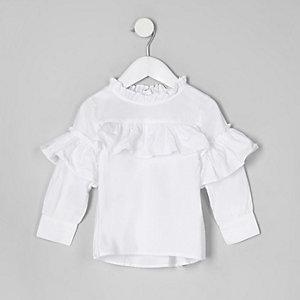 Mini girls white frill long sleeve top