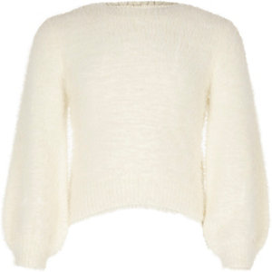 Girls cream balloon sleeve fluffy knit jumper