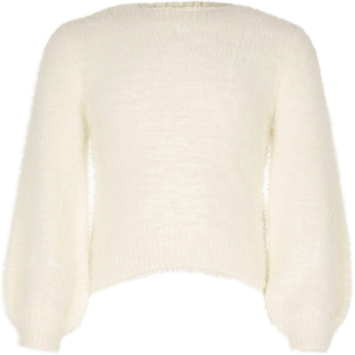 Girls cream balloon sleeve fluffy knit sweater