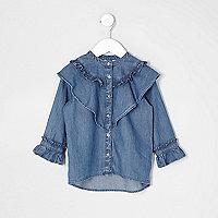 Mini girls blue ruffle denim shirt