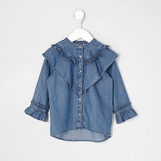 Mini girls blue ruffle denim shirt
