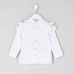 Mini girls white frill shoulder shirt