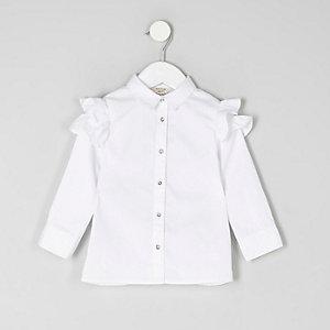 Mini girls white frill shoulder shirt