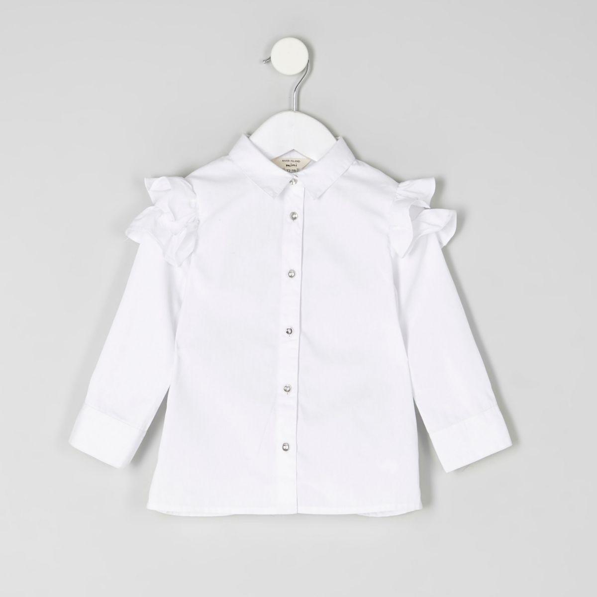 Mini - Wit overhemd met ruches op de schouders voor meisjes