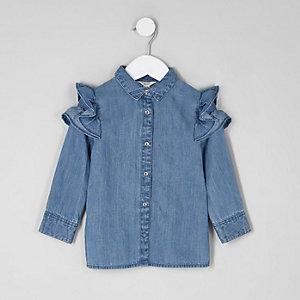 Chemise en jean à volants aux épaules mini fille