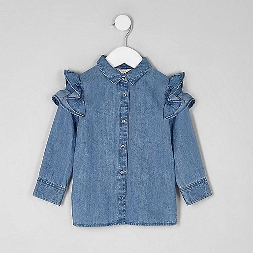 Mini girls ruffle shoulder denim shirt