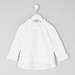 Mini girls white ruffle top