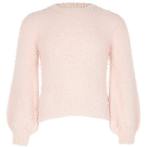 Girls pink balloon sleeve fluffy knit jumper